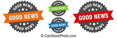 good news sign. round ribbon label set. Seal - good news ...