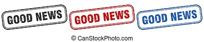 good news square isolated sign set. good news stamp