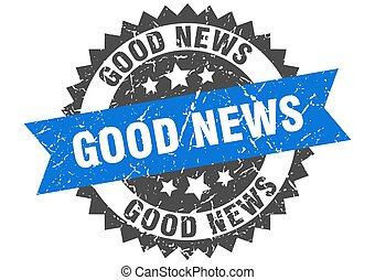 good news stamp. grunge round sign with ribbon - good news ...