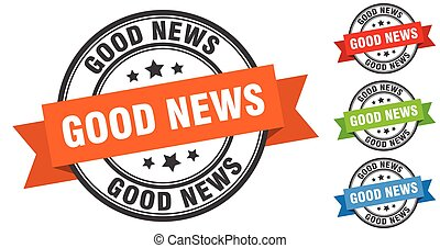 good news stamp. round band sign set. label - good news ...