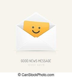 Good News - White mail envelope with orange card inside ...