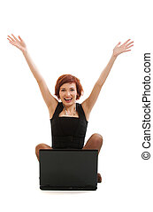 young cheerful woman with a computer on a white background.