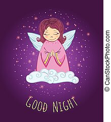 Little Cute Angel in a Cloud. Good Night Card. Vector Illustration