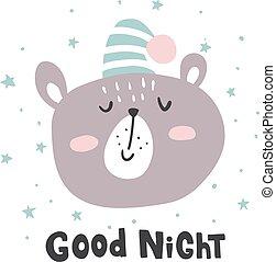 good night bear - vector illustration, cute bear in a...