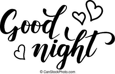 good night brush calligraphy - good night modern brush...