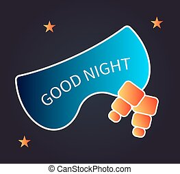Card, banner, flyer good night. Sleep mask and ear plugs. Vector illustration