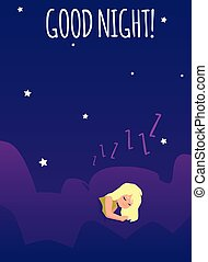 Good night card or poster with sleeping cute girl flat vector illustration.