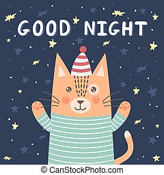 Good night card with a cute cat