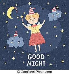 Good night card with a cute fairy and sleepy clouds