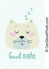 Good night card with a cute sleepy cat.