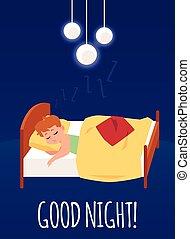 Good night card with boy sleeping in bed flat cartoon vector illustration.