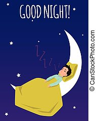 Good night card with child sleeping on the moon flat vector illustration.