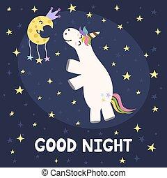 Good night card with cute unicorn and moon