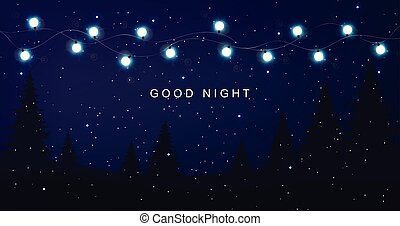 Good night card with fairy lights