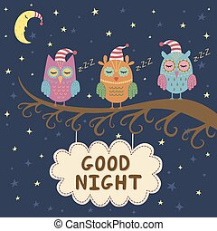 Good night card with owls