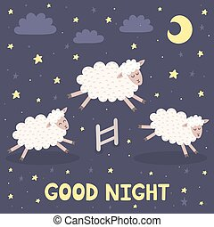 Good night card with sheeps jumping over a fence