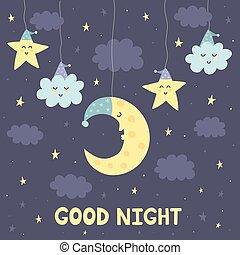 Good night card with the cute sleeping moon and stars