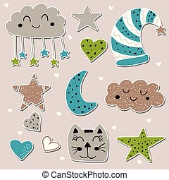 Good night childish decoration set. Cute stickers. Doodle stylized vector illustration in blue and green color.
