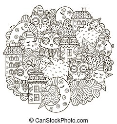 Good night circle shape pattern for coloring book. Monochrome background with cute moon, owls, sheep, clouds, stars and houses. Vector illustration