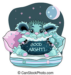 Cute good night background with blue friendly monster.