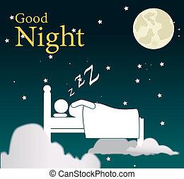 good night design over sky background vector illustration