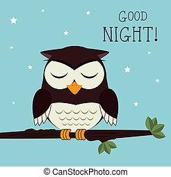 Good night design over blue background, vector illustration