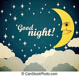 Good night - Retro illustration of a smiling moon wishing...