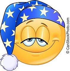 Good night emoticon with nightcap