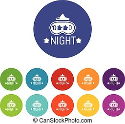 Good night icons set vector color