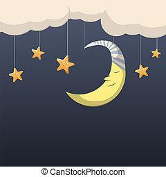 Good night - Vector night scene with moon and stars