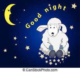 good night - lovely lamb sits on stars in the night sky,...