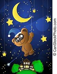 good night moon - Vector illustration of wish good night...