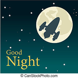 good night over sky background vector illustration
