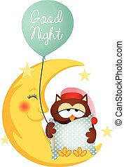 Scalable vectorial image representing a good night owl holding a balloon, isolated on white.