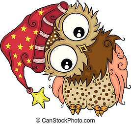 Scalable vectorial representing a good night owl, element for design, illustration isolated on white background.