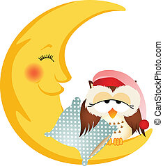 Good night owl sitting on a moon - Scalable vectorial image...