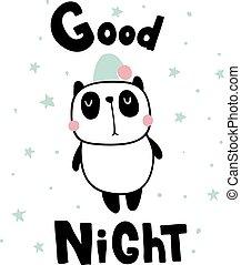 good night panda - vector illustration, sleepy panda and...