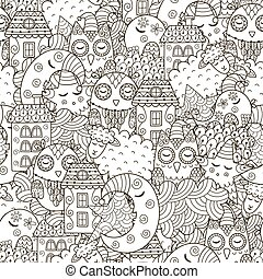 Good night seamless pattern for coloring book. Monochrome background with cute moon, owls, sheep, clouds, stars and houses. Vector illustration