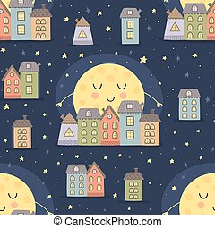 Good night seamless pattern with moon and city landscape