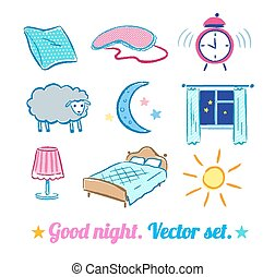 Good Night set. Vector sketches. Isolated.