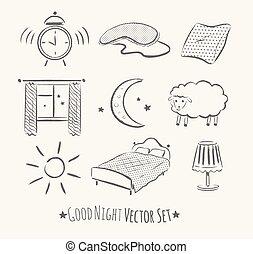 Good night set. - Good night vector sketchy set. Grunge hand...