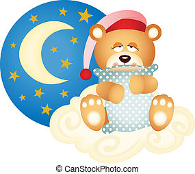 Scalable vectorial image representing a good night teddy bear, isolated on white.