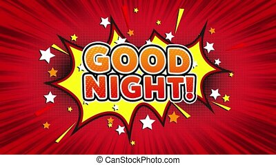 Good Night Text Pop Art Style Comic Expression. - Good...