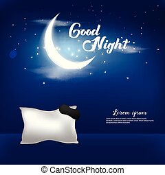 Good Night Vector Illustration Background Template Design Concept