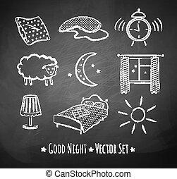 Good night vector sketchy set. Chalked illustrations on...