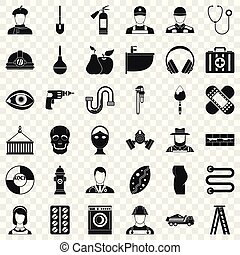 Good occupation icons set, simple style