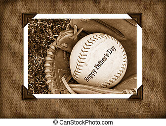 Good Old Days - Ball in glove in sepia snapshot frame.
