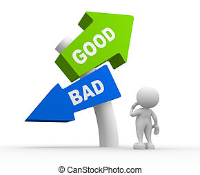Good or bad - 3d people - man, people standing in front of a...
