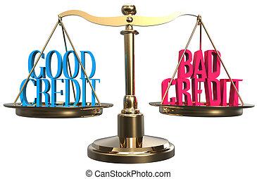 Good or bad credit scales balance choice
