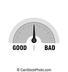 Good or Bad measuring gauge. Vector indicator illustration. Meter with black arrow in white background